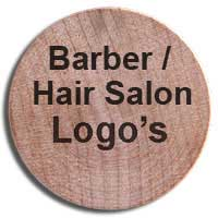 wooden nickels with barber and hair salon logos