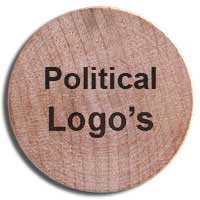 Wooden nickels with political logos