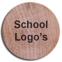 Wooden Nickels with school logos